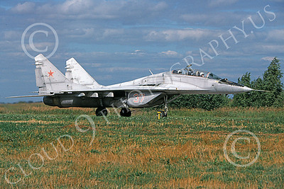 MiG-29UB 00009 A taxing Mikoyan-Guryevich MiG-29US Fulcrum Soviet Air Force 8-2009 military airplane picture by Truman James