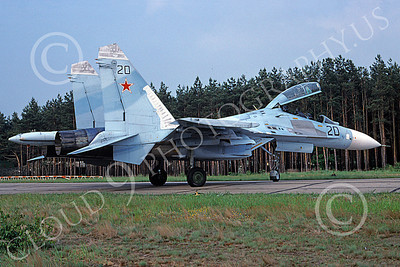SU-27 00021 A static blue Sukhoi Su-27 Flanker Soviet Air Force 20 5-1994 military airplane picture by Stephen Saunders