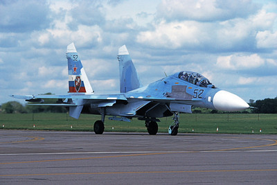 Su-27 00011 A taxing Sukhoi Su-27 Flanker Soviet Air Force 52 7-1997 military airplane picture by Wilfried Zetsche