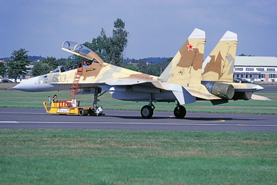 Su-27 00003 A towed Sukhoi Su-30 Flanker Soviet Air Force 603 9-1996 military airplane picture by Wilfreid Zetsche