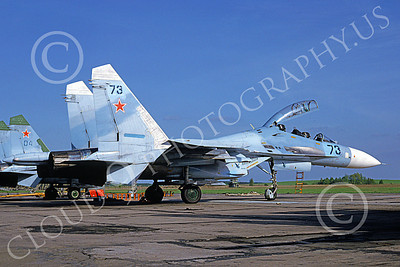 SU-27 00015 A statIc blue Sukhoi Su-27 Flanker Soviet Air Force 73 6-1992 military airplane picture by Wilfreid Zetsche