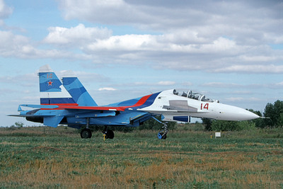 Su-27 00007 A taxing Sukhoi Su-27 Flanker Soviet Air Force 14 8-2009 military airplane picture by Wilfried Zetsche