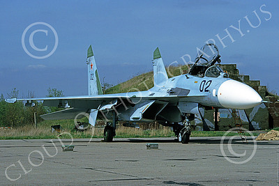 SU-27 00025 A static blue Sukhoi Su-27 Flanker Soviet Air Force 02 6-1992 military airplane picture by Jan Jorgensen