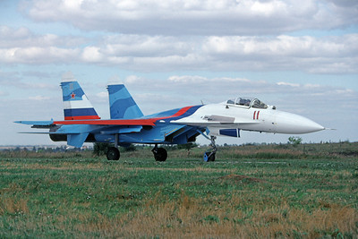 Su-27 00005 A taxing Sukhoi Su-27 Flanker Soviet Air Force 11 8-2009 military airplane picture by Wilfried Zetsche