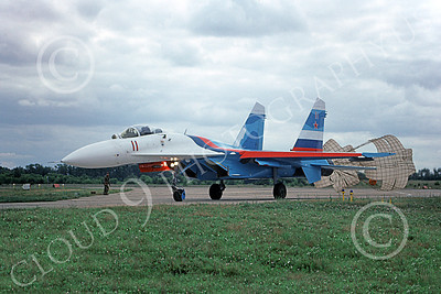 Su-27 00011 A taxing Sukhoi Su-27 Flanker Soviet Air Force 11 with chute 8-2009 military airplane picture by Joe Collins