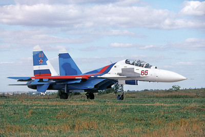 Su-27 00009 A taxing Sukhoi Su-27 Flanker Soviet Air Force 66 8-2009 military airplane picture by Wilfried Zetsche