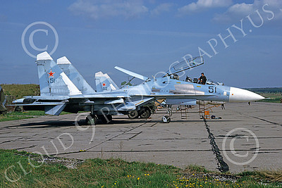SU-27 00023 A static blue Sukhoi Su-27 Flanker Soviet Air Force 51 6-1992 military airplane picture by Jack Alden