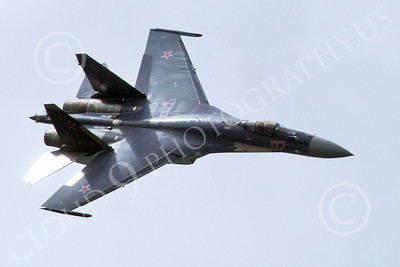 Sukhoi Su-35 00004 Top view of a flying Sukhoi Su-35 Flanker Russian Air Force jet fighter military airplane picture 2013 by Stephen W D Wolf