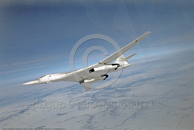Tu -160 001 A flying, banking, Tupolev Tu-160 Blackjack Soviet Air Force V-G wing blended into the fuselage supersonic strategic jet bomber, military airplane picture by A  A  Baitov  DONEwt
