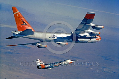 B-52 0004 A flying Boeing NB-52 Stratofortress USAF jet bomber 20008 with X-15 and F-104 official USAF picture produced by Cloud 9 Photography