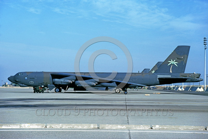 B-52 0189 A static Boeing B-52G Stratofortress USAF jet bomber with palm tree on tail Mather AFB 10-1989 military airplane picture by Peter B Lewis