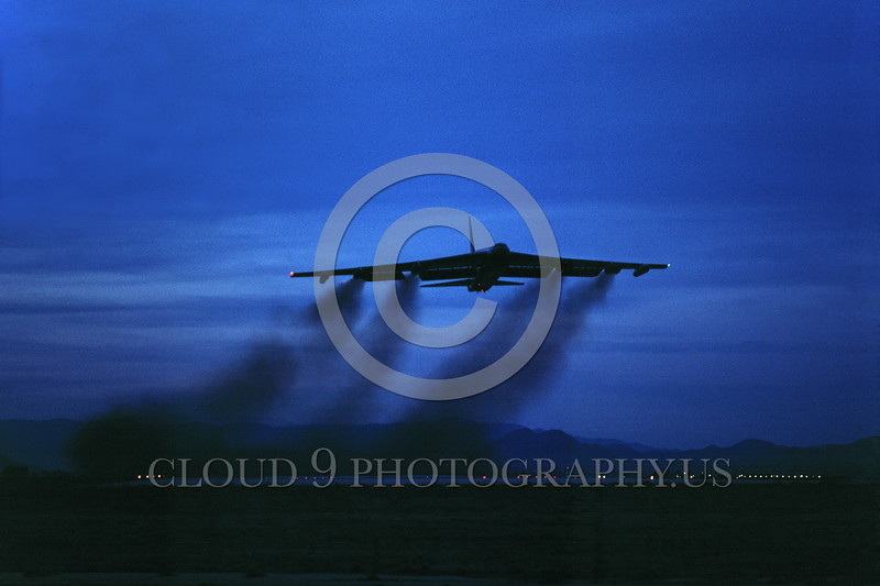 B-52 0044 A night flying Boeing B-52D Stratofortress USAF jet bomber March AFB military airplane picture by Peter J Mancus