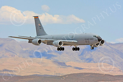C-17USAF 00034 A USAF Boeing KC-135R Stratotanker, 10312, AETC ALTUS, 97th AMW, lands at Nellis AFB, military airplane picture, by Carl E Porter