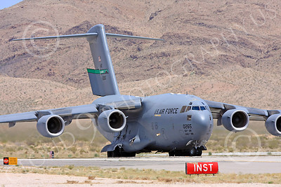 C-17USAF 00023 A USAF Boeing C-17 Globemaster III, 80265, McCHORD, 62nd AW 446th AW, taxis to take the runway for take-off at Nellis AFB, military airplane picture, by Carl E Porter