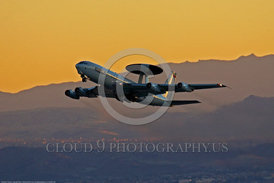 E-3USAF 00202 A Boeing E-3 Sentry USAF AWACS aircraft takes off at Nellis AFB during a Red Flag training exercise military airplane picture by Peter J Mancus