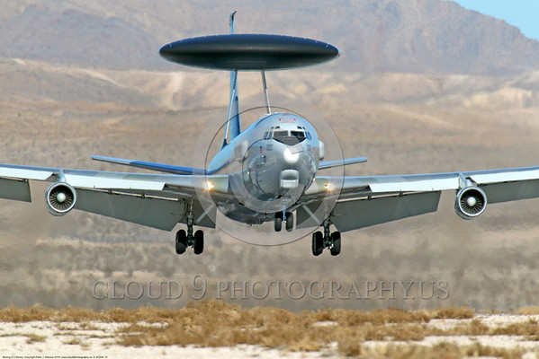 E-3USAF 00012 A USAF Boeing E-3 Sentry AWACS jet on final approach to land at Nellis AFB, moments before touchdown military airplane picture by Peter J Mancus