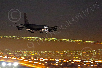 WWAN 00035 A Boeingn KC-135R Stratotanker USAF aerial refueling and cargo aircraft on final approach to land at Nellis AFB after a night Red Flag mission military airplane picture by Peter J Mancus