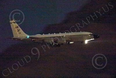 WWAN 00009 A Boeing RC-135 Rivet Joint USAF recon aircraft lands at Nellis AFB after a night Red Flag mission military airplane picture by Peter J Mancus