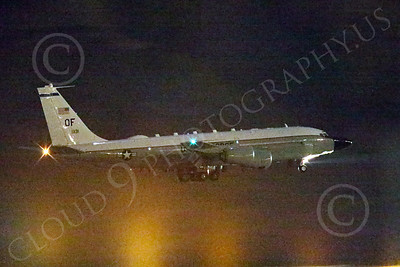 WWAN 00030 A Boeing RC-135W Rivet Joint USAF recon aircraft OF code lands at Nellis AFB after a night Red Flag mission military airplane picture by Peter J Mancus