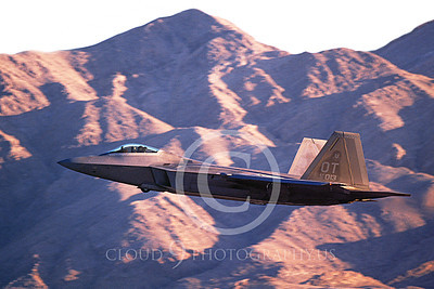 F-22USAF 00508 A flying Lockheed Martin F-22 Raptor USAF 00013 OTcode Nellis AFB 12-2005 military airplane picture by Michael Grove, Sr