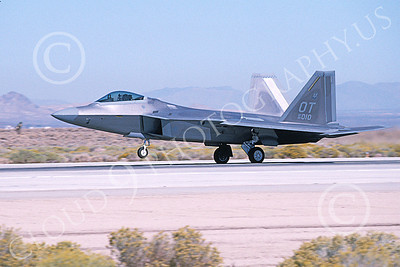 F-22USAF 00498 A landing Lockheed Martin F-22 Raptor USAF 99010 OT code Edwards AFB 11-2003 military airplane picture by Michael Grove, Sr