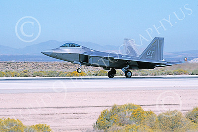 F-22USAF 00417 A landing Lockheed Martin F-22 Raptor USAF 99010 OT code Edwards AFB 11-2003 military airplane picture by Michael Grove, Sr