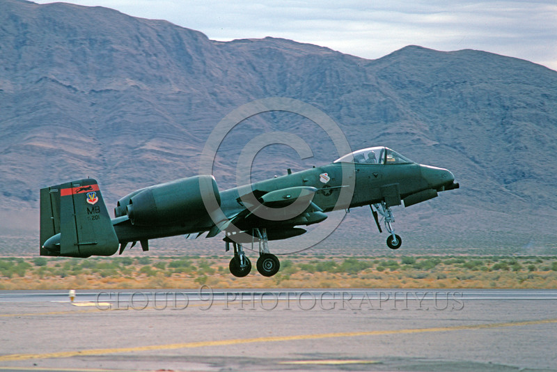 A-10USAF 00164 A Fairchild A-10 Thunderbolt II USAF attack jet 77201 MB code lizard color scheme lands at Nellis AFB military airplane picture by Peter J Mancus