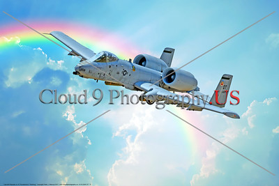 "A-10-USAF-OT 0012 A Fairchild Republic A-10 Thunderbolt II ""Warthog"" OT code USAF flying tank buster in flight in front of a rainbow, military airplane picture by Peter J  Mancus     DONEwt"