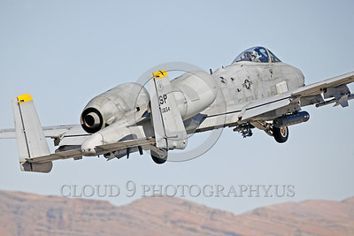 A-10USAF 00008 A Fairchild A-10 Thunderbolt II USAF attack jet SP code takes off from Nellis AFB during a Red Flag exercise military airplane picture by Peter J Mancus