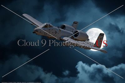 """A-10-USAF-OT 0002 A dramtic flying Fairchild Republic A-10 Thunderbolt II """"Warthog"""" OT code USAF flying tank buster moonlight military airplane picture by Peter J  Mancus     DONEwt"""