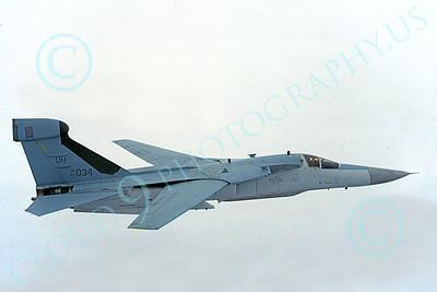EF-111USAF 00032 A flying USAF General Dynamics EF-111E Raven UH code 67034 1-1991, by Frank McComber D