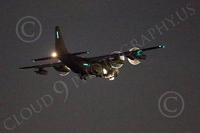 WWAN 00008 A Lockheed C-130 Hercules USAF landing at night with green formation and night lights on military airplane picture by Peter J Mancus
