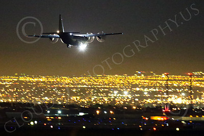 WWAN 00001 A Lockheed C-130 Hercules USAF lands at Nellis AFB during a night Red Flag training exercise military airplane picture by Peter J Mancus