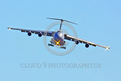 C-5USAF 0058 A landing low viz gray Lockheed C-5B Galaxy USAF heavy lift cargo jet military airplane picture by Peter J Mancus