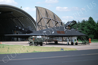 F-117 00013 A static Lockheed F-117 Nighthawk USAF 850812 HO code Holloman AFB 7-1997 airplane picture by Michael Grove, Sr