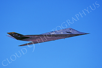 F-117 00024 A flying Lockheed F-117 Nighthawk USAF 816 HO code 8 FS 8-1996 airplane picture by Michael Grove, Sr