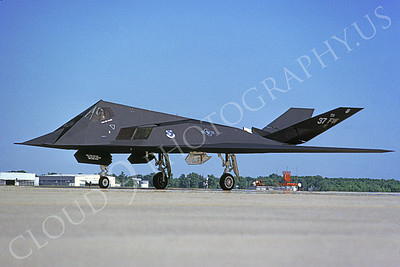 F-117 00019 A taxing Lockheed F-117 Nighthawk USAF 826 TR code 37 FW 5-1992 airplane picture by Michael Grove, Sr