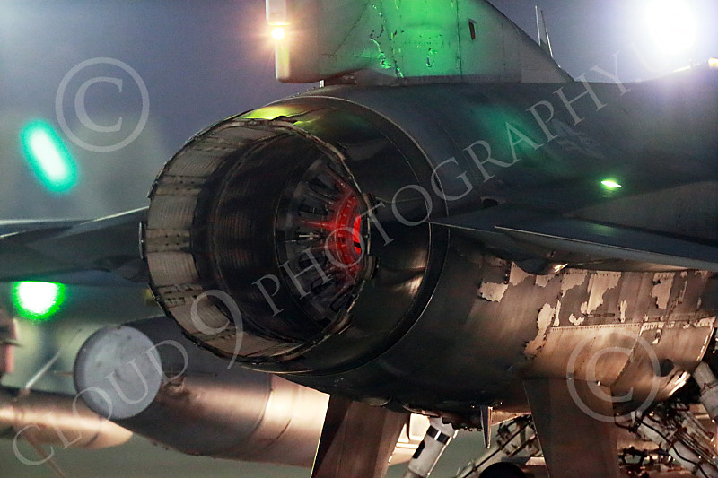 F-16USAF 04017 Close up of the jet engine exhaust on a taxing USAF Lockheed F-16 Viper jet fighter at night at Nellis AFB 7-2014 military airplane picture by Peter J Mancus
