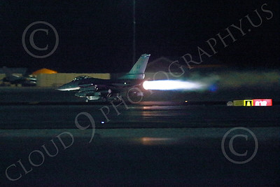 AB-F-16USAF 00073 A USAF AV code Lockheed F-16 Viper jet fighter in full afterburner at night at Nellis AFB 7-2014 military airplane picture by Peter J Mancus