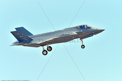 F-35USAF 0022 A landing Lockheed Martin F-35 Lightning II USAF stealth jet fighter 125049 WA code 16 WPS 7-2016 military airplane picture by Peter J  Mancus