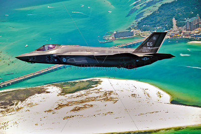 F-35USAF-EG 002 A Lockheed Martin USAF F-35 Lightning II stealth jet figher, 080747, 33rd FW, EG tail code, over southern Florida, official USAF picture produced by Cloud 9 Photography   Dt
