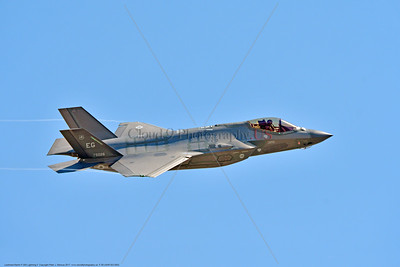 F-35-USAF-EG 0002 A flying Lockheed Martin F-35A Lightning II USAF stealth jet fighter 5026 EG code 7-2015 military airplane picture by Peter J  Mancus     DONEwt