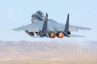 F-15E-USAF 00026 A USAF McDonnell Douglas F-15E Strike Eagle, 96200, OT code, shown in full afterburner taking off at Nellis AFB, military airplane picture, by Carl E Porter