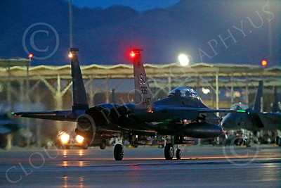 F-15EUSAF 00795 A SJ code USAF McDonnell Douglas F-15E Strike Eagle taxis for a night Red Flag mission at Nellis AFB 7-2014 military airplane picture by Peter J Mancus