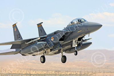 F-15E-USAF 00022 A USAF McDonnell Douglas F-15E Strike Eagle, 57th Wing, WA code, on final to land at Nellis AFB, military airplane picture, by Carl E Porter
