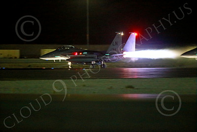 AB-F-15USAF 00059 A LN code USAF McDonnell Douglas F-15E Strike Eagle takes off in full afterburner for a night Red Flag mission at Nellis AFB 7-2014 military airplane picture by Peter J Mancus