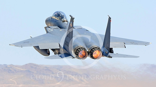 F-15E-USAF 00050 A USAF McDonnell Douglas F-15E Strike Eagle, 96200, OT code, shown in full afterburner taking off at Nellis AFB, military airplane picture, by Carl E Porter