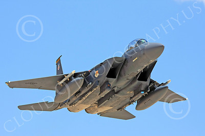 F-15E-USAF 00004 An in-flight USAF McDonnell Douglas F-15E Strike Eagle, 57th Wing, WA code, military airplane picture, by Carl E Porter