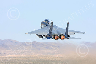 F-15E-USAF 00042 A USAF McDonnell Douglas F-15E Strike Eagle, 96200, OT code, shown in full afterburner taking off at Nellis AFB, military airplane picture, by Carl E Porter
