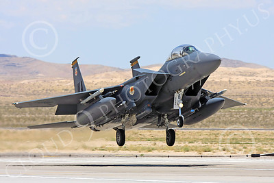 F-15E-USAF 00032 A USAF McDonnell Douglas F-15E Strike Eagle, 57th Wing, WA code, on final to land at Nellis AFB, military airplane picture, by Carl E Porter